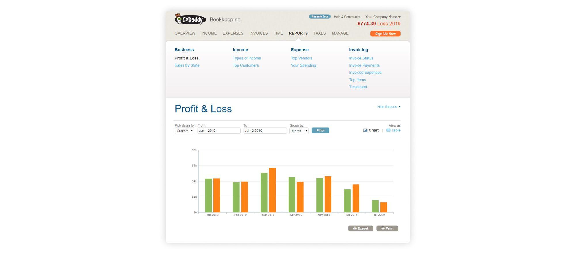 godaddy bookkeeping screenshot